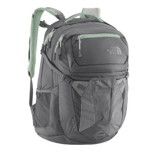 Light Grey & Mint Green North Face Recon Backpack